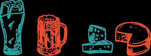 dessin: bière, fromage